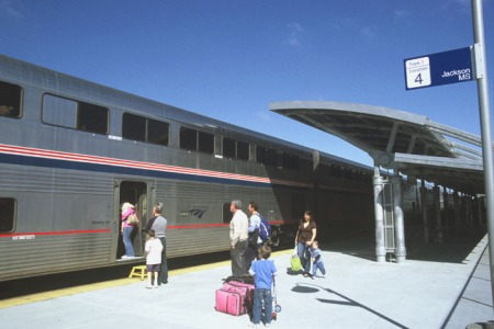 Passengers board the sleeping car of the southbound City of New Orleans at Jackson, Mississippi, on March 17, 2009. Jackson has been on the Amtrak map since Day 1, but has never had more than two trains a day.