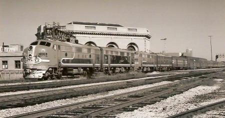 Nearly an hour into its final westbound trek, the Chief pauses at Joliet, Illinois, on September 9, 1972.