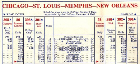 During Amtrak's first year, many railroads continued to issue their own timetables for the passenger trains they operated under contract for Amtrak. Shown is a portion of a timetable issued November 14, 1971, by the Illinois Central Railroad. The timetable is done in the same format and style as IC timetables issued in the years before the coming of Amtrak.