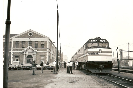 The Illini operated to Decatur for two years in the early 1980s, but fell victim to an economic recession that depressed travel demand. But the future seemed bright on July 2, 1981, when the Illini began its maiden run to Chicago. The former Wabash station is shown at right. (Photograph by David Tiffany)