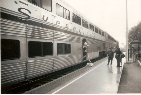 Few passengers disembarked from the Kentucky Cardinal after it stopped in Jeffersonville, Indiana, on May 19, 2000. The Jeffersonville station was located within a freight yard of the Louisville & Indiana Railroad. (Photograph by Craig Sanders)