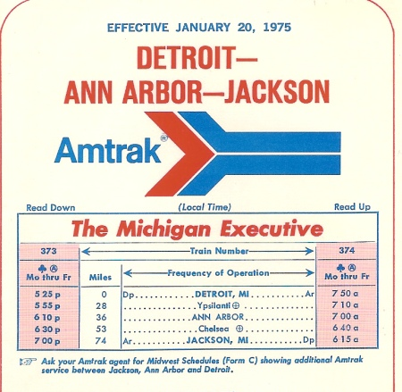 A portion of the first Michigan Executive timetcard issued by Amtrak