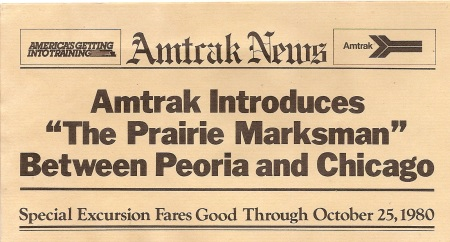 To introduce the Prairie Marksman, Amtrak created a leaflet that was designed in part to look like a newspaper page. A portin of the leaflet is shown here.