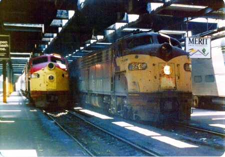 The Quad City Rocket (right) and Peoria Rocket repose at Chicago's LaSalle Street Station after having arrived on June 25, 1977. (Photograph by Craig Sanders)