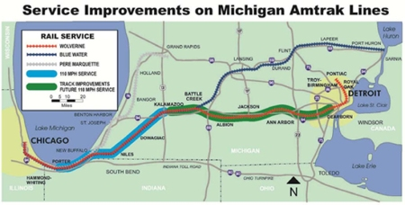 Amtrak Michigan map