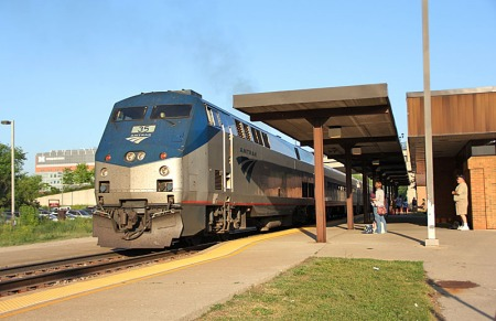 A Detroit-bound Wolverine Service train pauses at Ann Arbor on May 19, 2012.