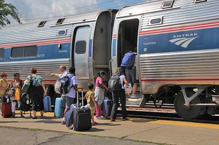 Passengers board Empire Corridor train No. 288 at Buffalo Depew station on July 31, 2011.