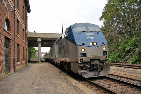 Amtrak's northbound Saluki rolls into the station at Mattoon, Ill., on May 23, 2013. The station was built by the Illinois Central Railroad but is now owned by the City of Mattoon.