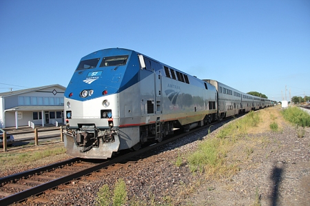 A detouring westbound Texas Eagle passes through Tuscola, Ill., in August 2012.
