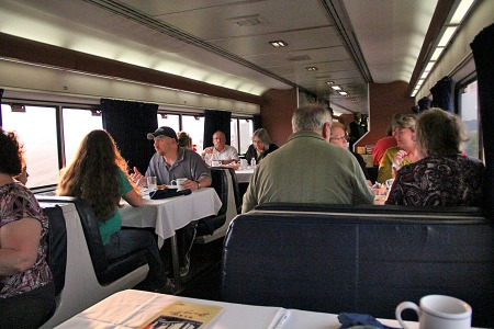 Breakfast is being served in the diner aboard the westbound Capitol Limited in May 2013.