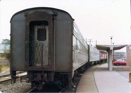 The Peoria Rocket awaits boarding in Peoria, Ill., in June 1977. Just two people would board the train on this Saturday morning.