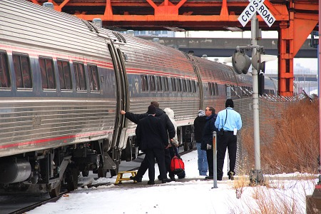 Passengers board a late running eastbound Lake Shore Limited in Cleveland on Jan. 10. (Photograph by Craig Sanders)