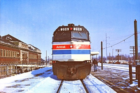 One of the earliest photographs I made of Amtrak was the southbound Shawnee at Champaign, Ill., in January 1977.