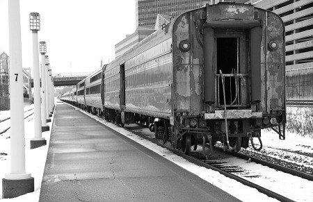: No. 48 is headed for New York where it arrived at 12:33 a.m., nearly six hours late. No. 448 arrived in Boston at 3:29 a.m., more than six hours late. The baggage car on the New York section looks like it has racked up quite a few miles and quite a bit of use.