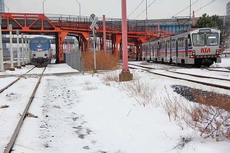 The RTA Waterfront Line trains were passing the Amtrak station frequently as No. 48 did its station work. By the time I took this photograph, Amtrak 48 had been in Cleveland at the Amtrak station for 47 minutes.