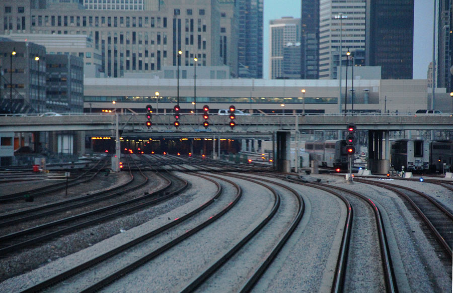All signals  on the tracks leading into Chicago Union Station are red as seen from the rear of the departing eastbound Capitol Limited on Monday, March 10.