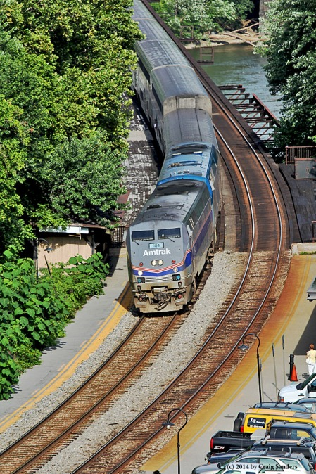 Amtrak's westbound Capitol Limited arrives at Harpers Ferry about 15 minutes late.