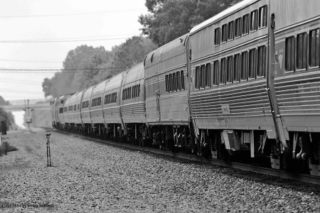 Three generations of Amtrak rolling stock can be seen in this view. There are Amfleet II coaches, a heritage fleet dining car and two Viewliner sleepers.