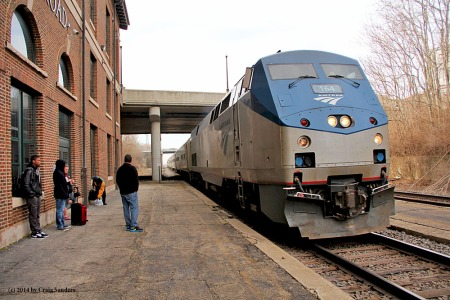 Amtrak's northbound Saluki is about to halt at the Mattoon, Ill., Amtrak station in March 2014.