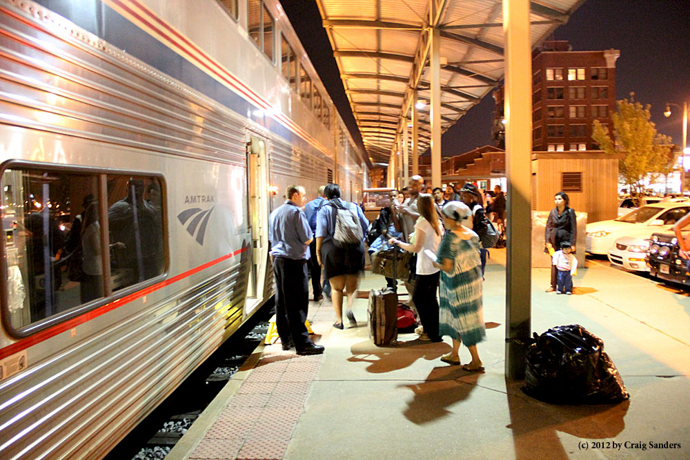 Passengers board the City of New Orleans in March 2012.