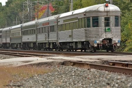 The Great Steel fleet is back! Four private cars bring up the rear of the Lake Shore Limited.