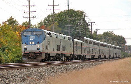 A 15-hour late eastbound Capitol Limited rolls through Olmsted Falls, Ohio, on Sunday, Oct. 5.