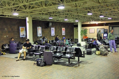 Passengers wait in the Amtrak station in Cleveland.