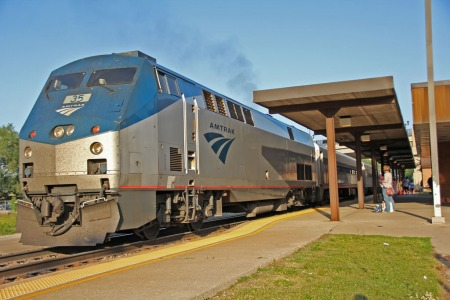 Wolverine Service No. 352 calls at the Ann Arbor Amtrak station.
