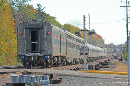 "A very late eastbound Lake Shore Limited operates through Olmsted Falls, Ohio, on Oct. 12, 2014. The trains frequent tardiness has led some to dub it the ""Late Shore Limited."""