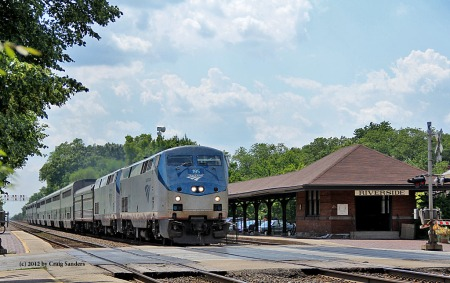 The inbound California Zephyr rushes through Riverside in suburban Chicago on June 2, 2012.