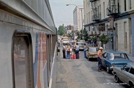 The Floridian loads passengers in the street in Lafayette, Indiana, in June 1977.