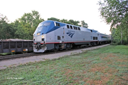 Amtrak train No. 851 approaches the Crawfordsville station in August 2011.