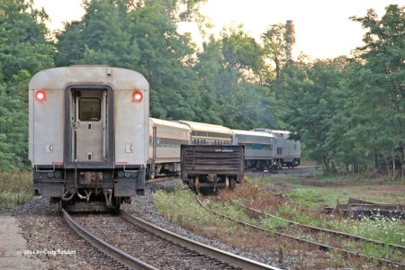 A ;l;ast look at the train, which has two cars being ferried from Beech Grove to Chicago.